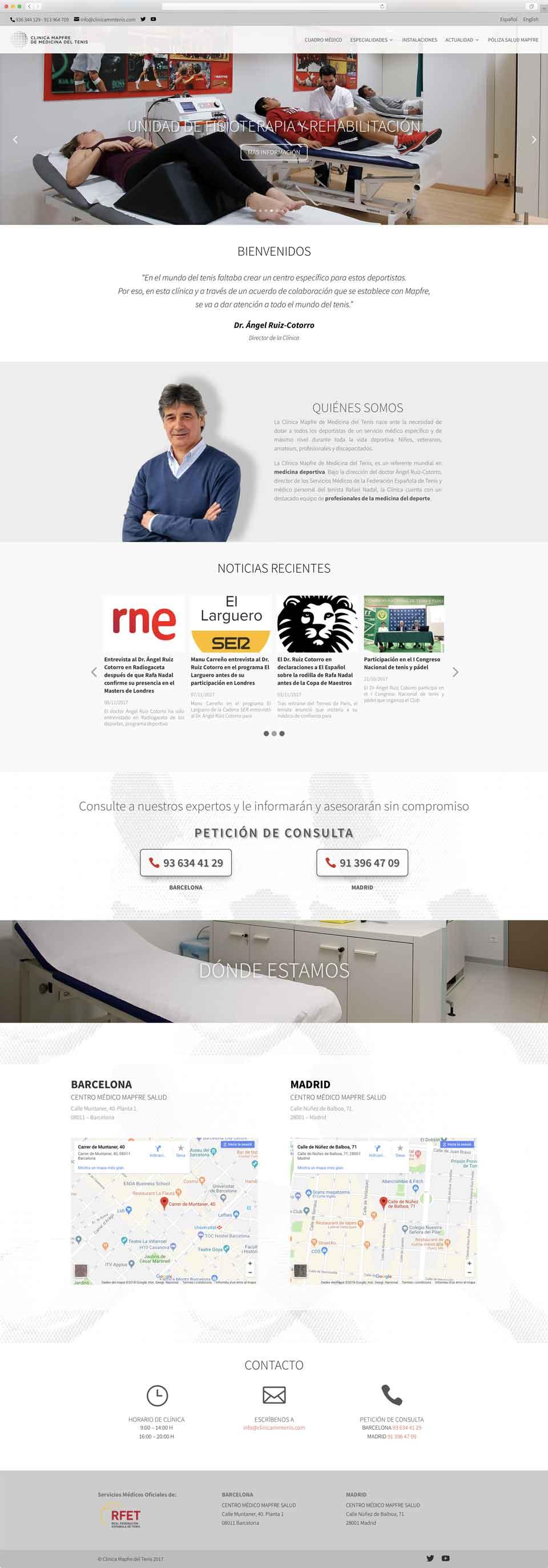 Muestra 1 de diseño web del proyecto Clínica Mapfre de Medicina del Tenis, realizado por Just the web y Byte Imatge