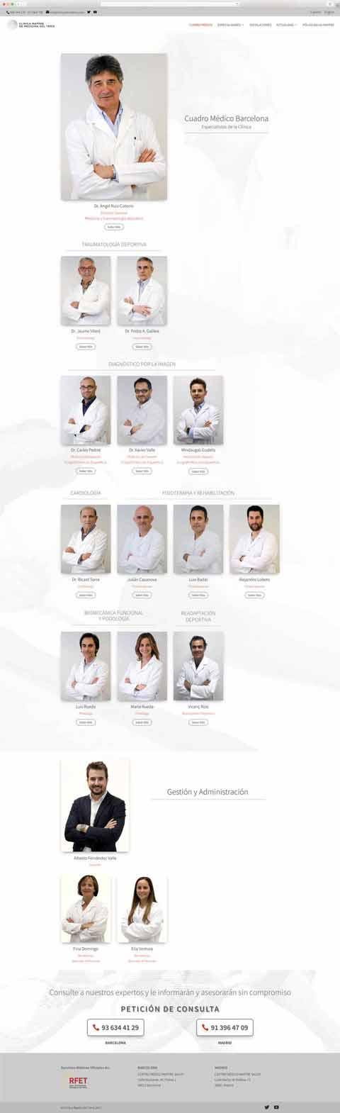 Muestra 2 de diseño web del proyecto Clínica Mapfre de Medicina del Tenis, realizado por Just the web y Byte Imatge