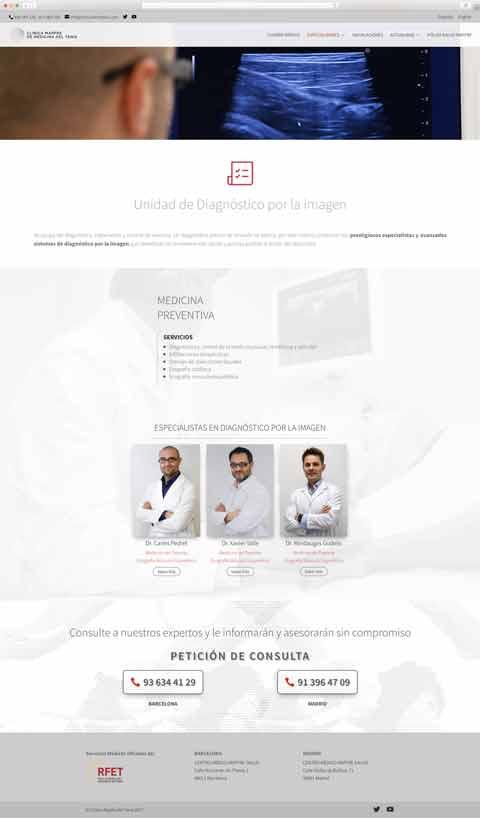 Muestra 3 de diseño web del proyecto Clínica Mapfre de Medicina del Tenis, realizado por Just the web y Byte Imatge
