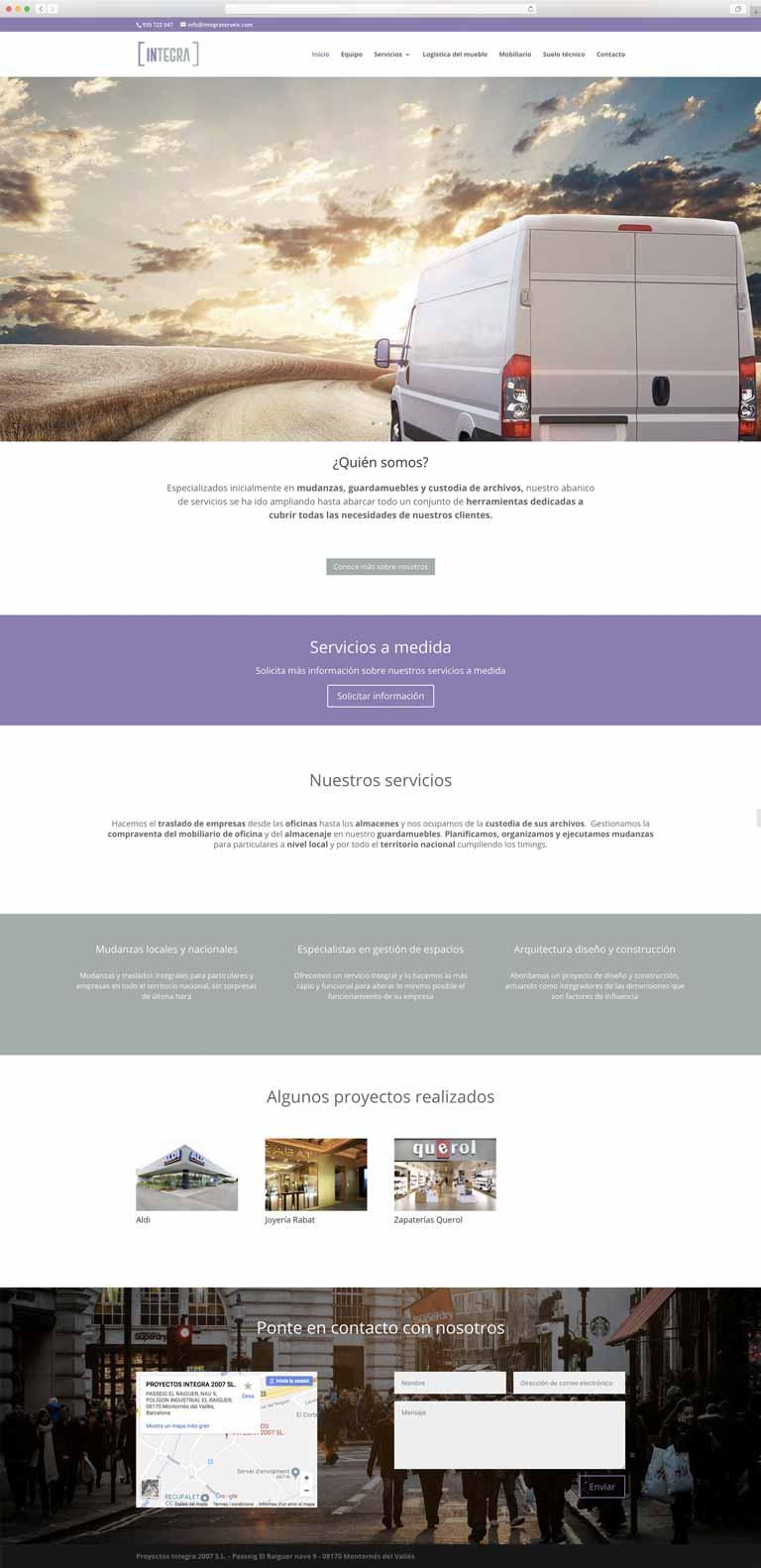 Muestra 1 del diseño web del proyecto Integra Serveis, realizado por La Publicidad Creativa y Just the web