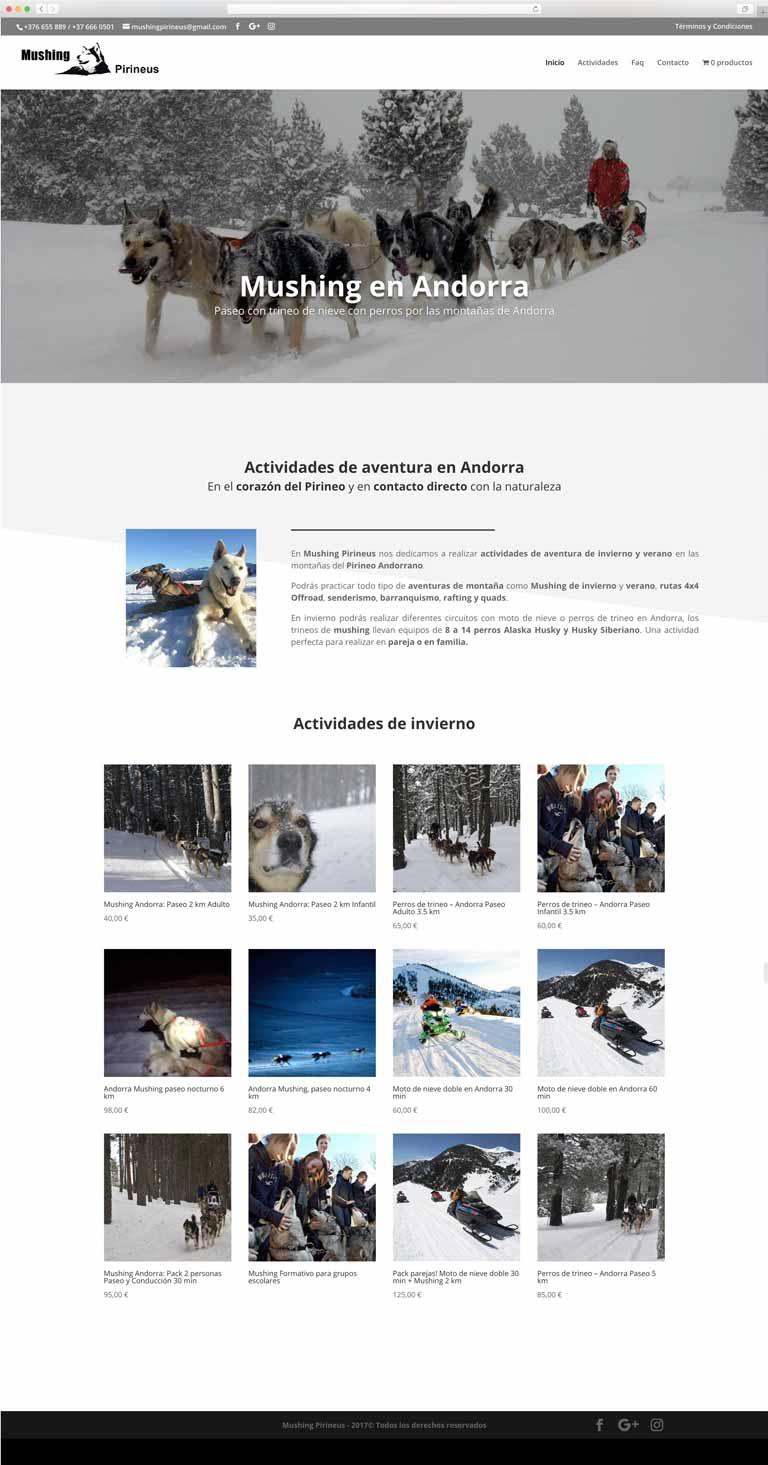 Muestra 1 del diseño web del proyecto Mushing Pirineus, realizado por Just the web