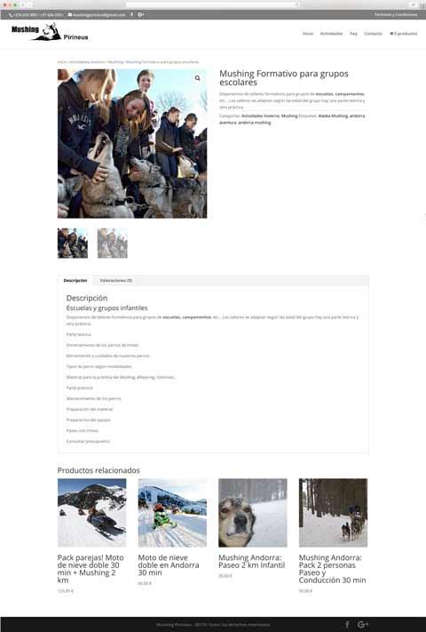 Muestra 2 del diseño web del proyecto Mushing Pirineus, realizado por Just the web