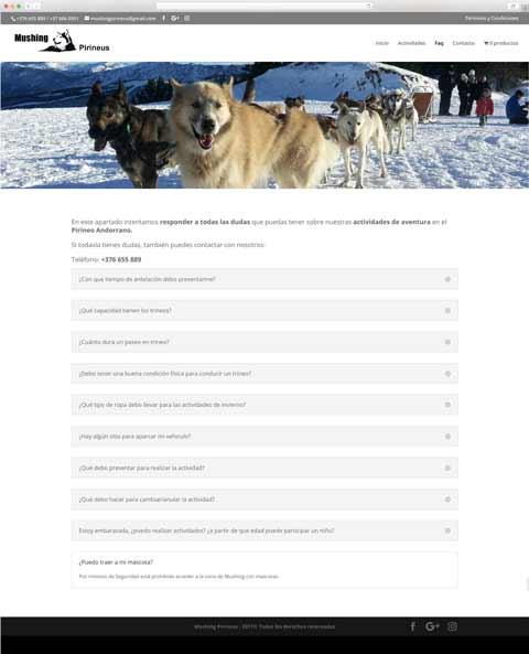 Muestra 3 del diseño web del proyecto Mushing Pirineus, realizado por Just the web