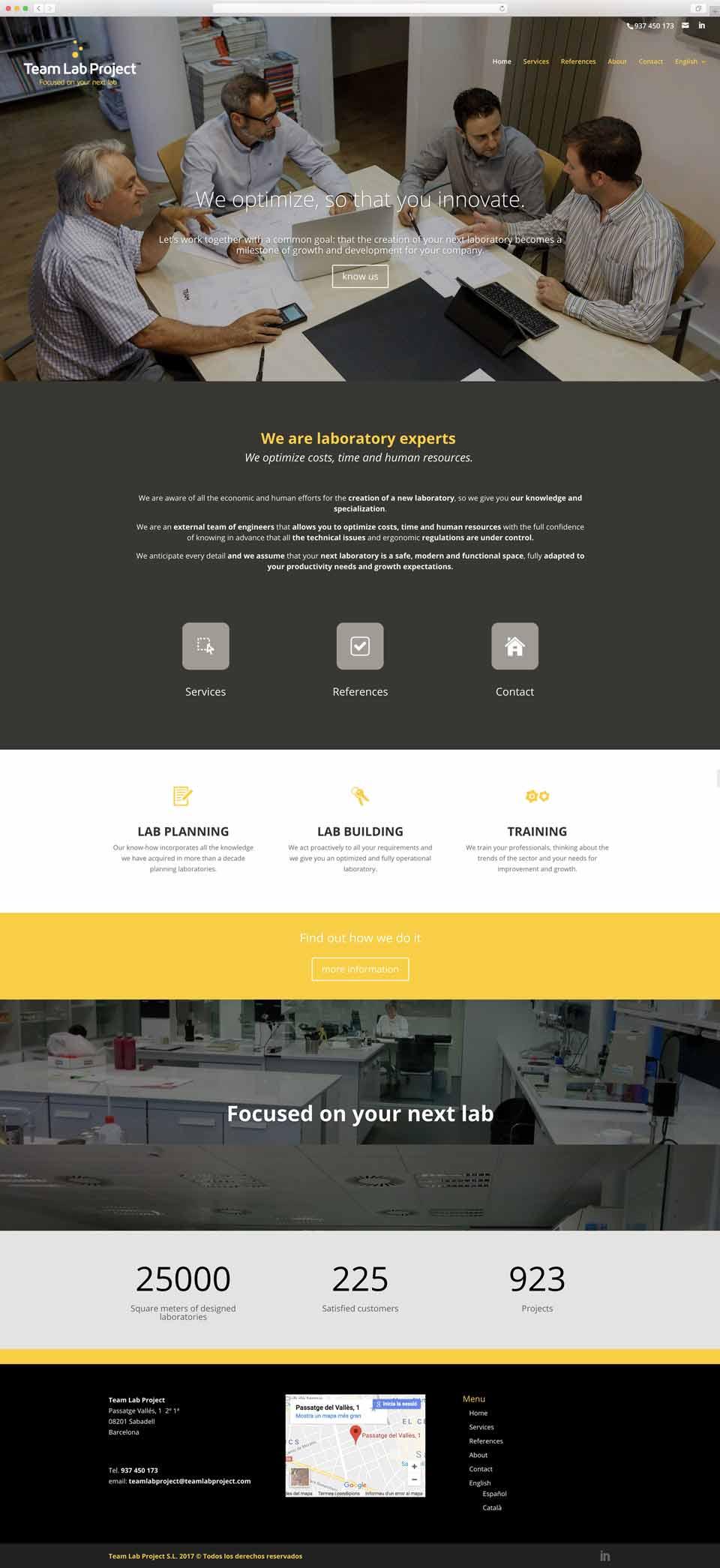 Muestra 1 del diseño web del proyecto Team Lab Project, realizado por Just the web y Byte Imatge