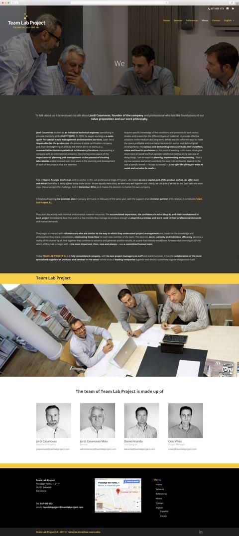 Muestra 2 del diseño web del proyecto Team Lab Project, realizado por Just the web y Byte Imatge