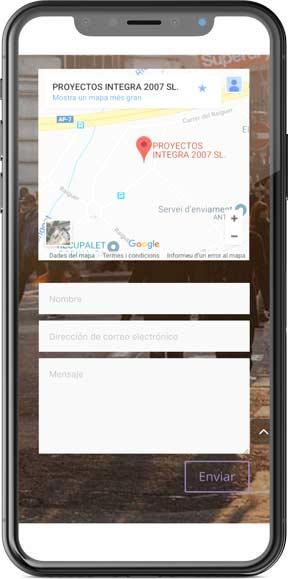 Muestra del diseño web de la página web en versión móvil del proyecto Integra Serveis, realizado por La Publicidad Creativa y Just the web