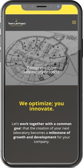 Muestra del diseño web de la página web en versión móvil del proyecto Team Lab Project, realizado por Just the web y Byte Imatge