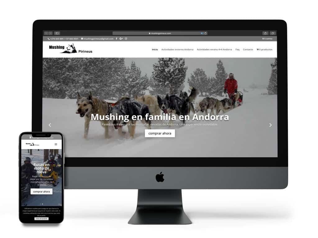 Visualización del proyecto Mushing Pirineus en diferentes dispositivos